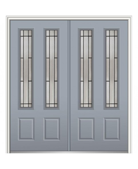 64 in. x 80 in.  Glass Storm Cloud Left-Hand 2-3/4-Lite 2-Panel Painted Steel Prehung Front Door