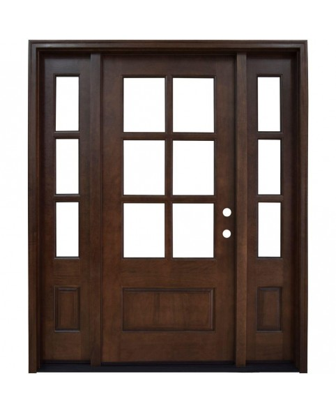 6 Lite Stained Mahogany Wood Prehung Front Door with Sidelite